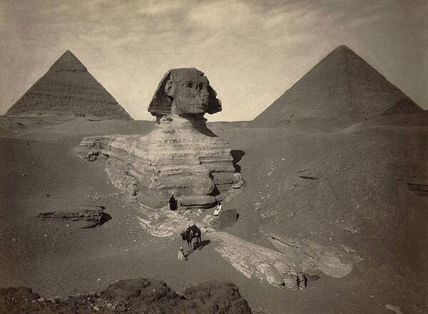 Частично раскопанный Великий Сфинкс из Гизы. Египет. Конец 19 века интересно, история, фото