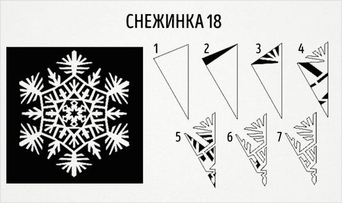 20 схем для вырезания снежинок из бумаги новый год, своими руками, снежинки