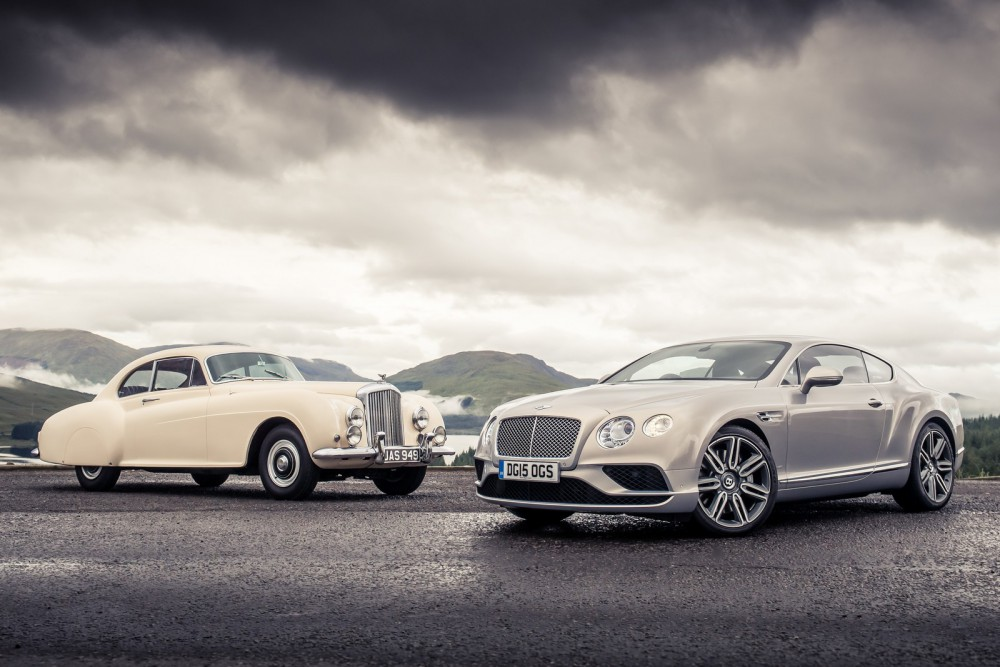 Bentley Continental GT Speed на встрече с прадедом 1952 года Continental GT, R-Type, bentley ретро автомобиль, олдтаймер
