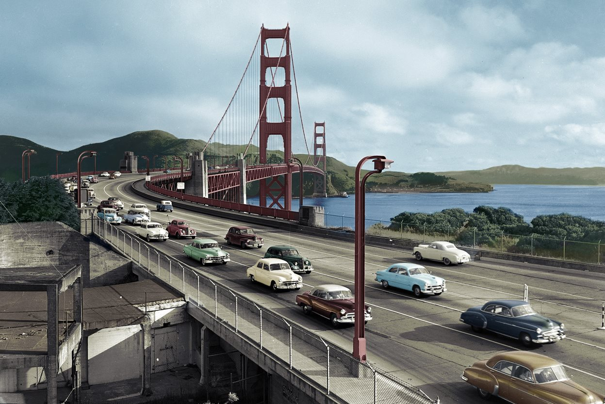 The Golden Gate Bridge, 1949 ретро автомобили, ретро фото, фотографии