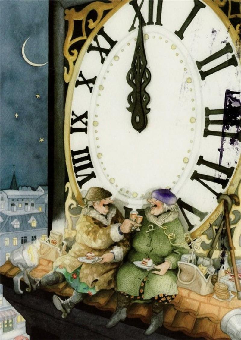 Инге Лёёк, «Веселые старушки» новый год, художник