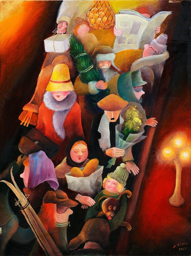 Наташа Виллон, «Предновогоднее метро» новый год, художник