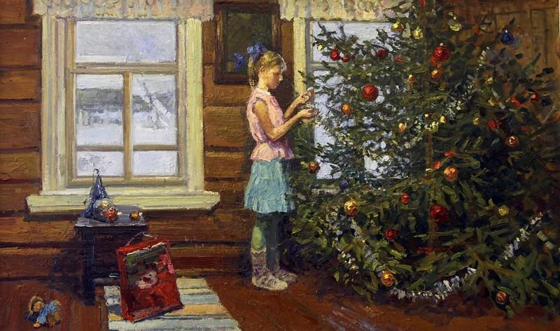 Ирина Рыбакова, «Рождественская елка», 2012 новый год, художник