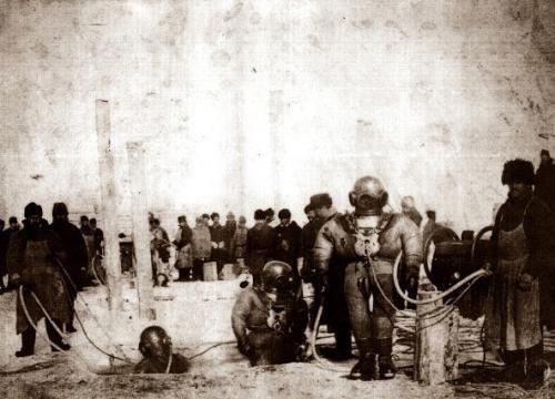 Подводные работы при строительстве моста через Енисей, 1896 год интересно, история, фото