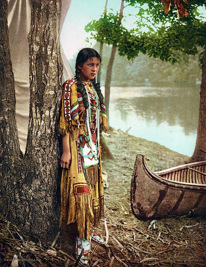 Миннехаха, 1904 г. архивные снимки, индейцы, раскрашенные, фотографии в цвете