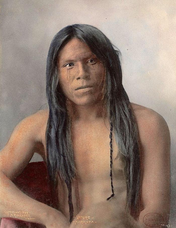 Вапоре, Марикопа. 1899 г., фотограф Ф.А. Райнхарт архивные снимки, индейцы, раскрашенные, фотографии в цвете