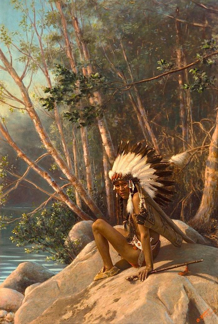 """""""Звенящий колокол"""". Миннесота, 1908 г., фотограф Роланд В. Рид архивные снимки, индейцы, раскрашенные, фотографии в цвете"""