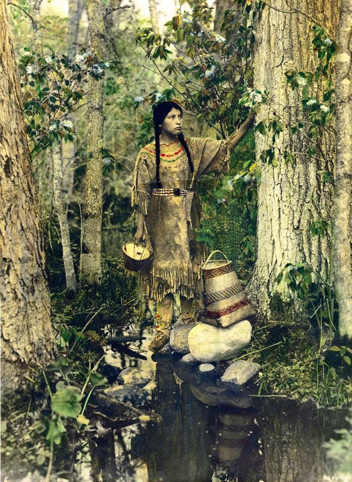 """""""Та, кто путешествует по небу"""". Народ оджибве, 1908 г., фотограф Роланд В. Рид архивные снимки, индейцы, раскрашенные, фотографии в цвете"""