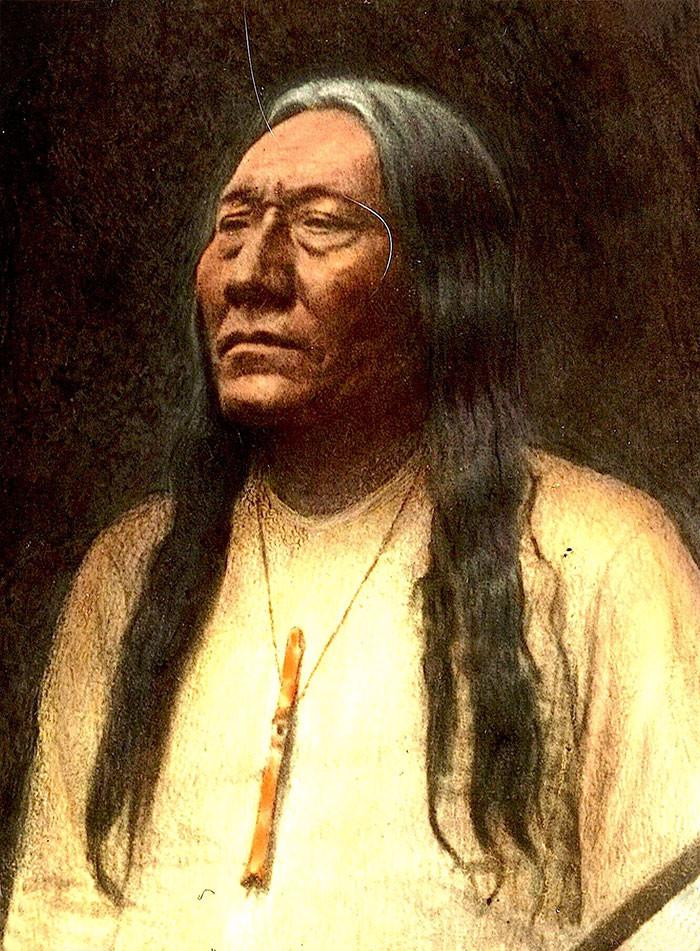Вождь Бешеный Волк. Племя черноногие. Монтана, начало 1900-х, Вальтер МакКлинток архивные снимки, индейцы, раскрашенные, фотографии в цвете