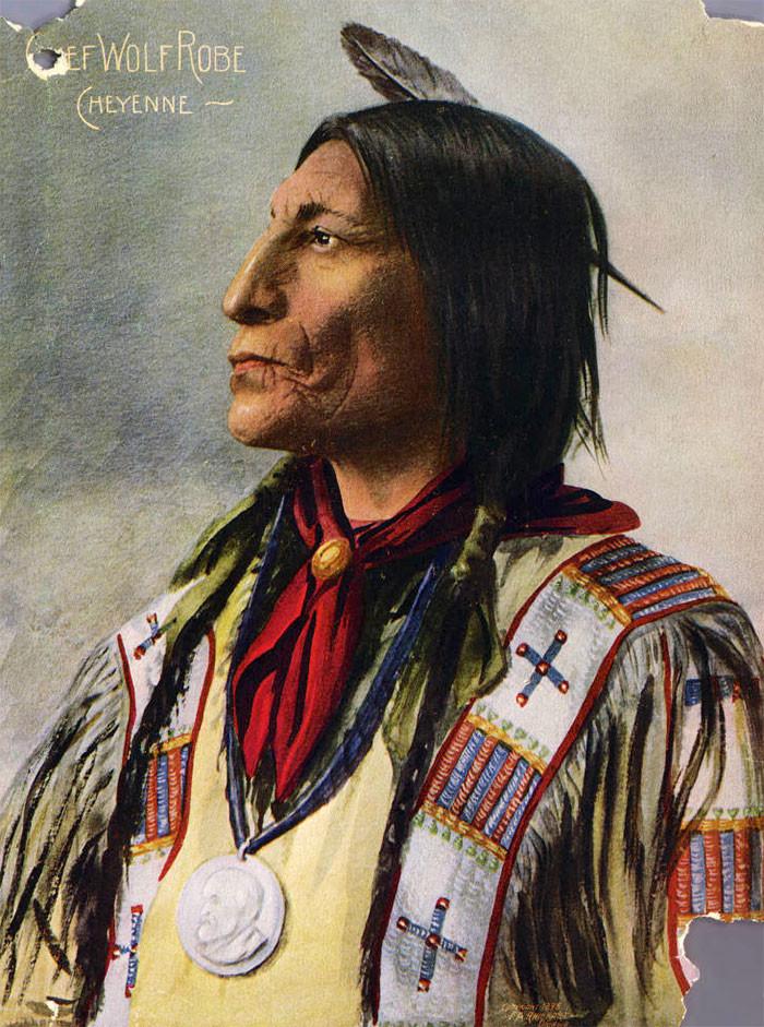 Вождь шайеннов Волчий Плащ, 1898 г., фотограф Ф. A. Райнхарт архивные снимки, индейцы, раскрашенные, фотографии в цвете