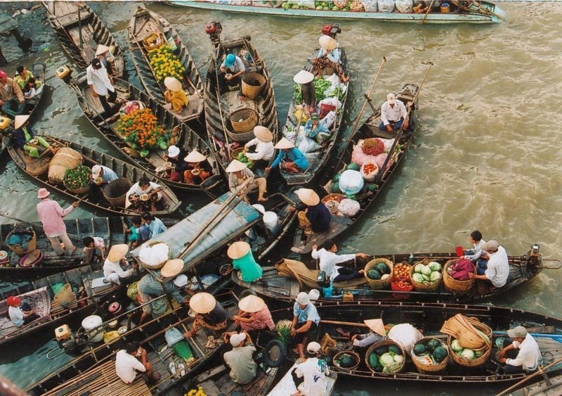 Плавучие рынки юго-восточной Азии азия, плавучий рынок, рынок