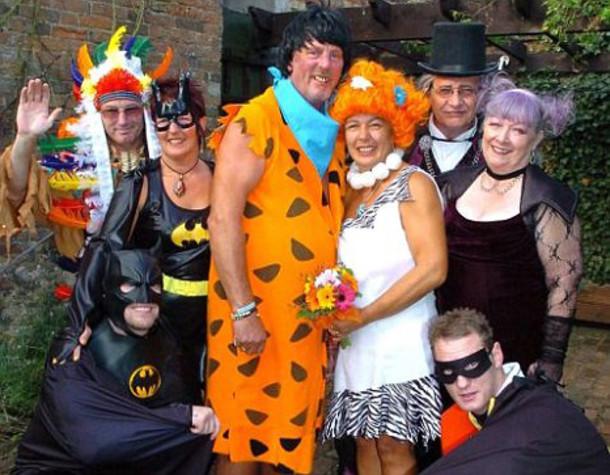 Семейка Флинстоунов Свадебное оформление, жених и невеста, свадебная церемония, свадьба, тематическая