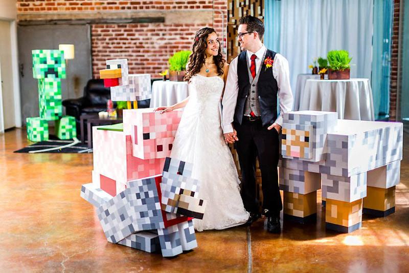 Майнкрафт Свадебное оформление, жених и невеста, свадебная церемония, свадьба, тематическая