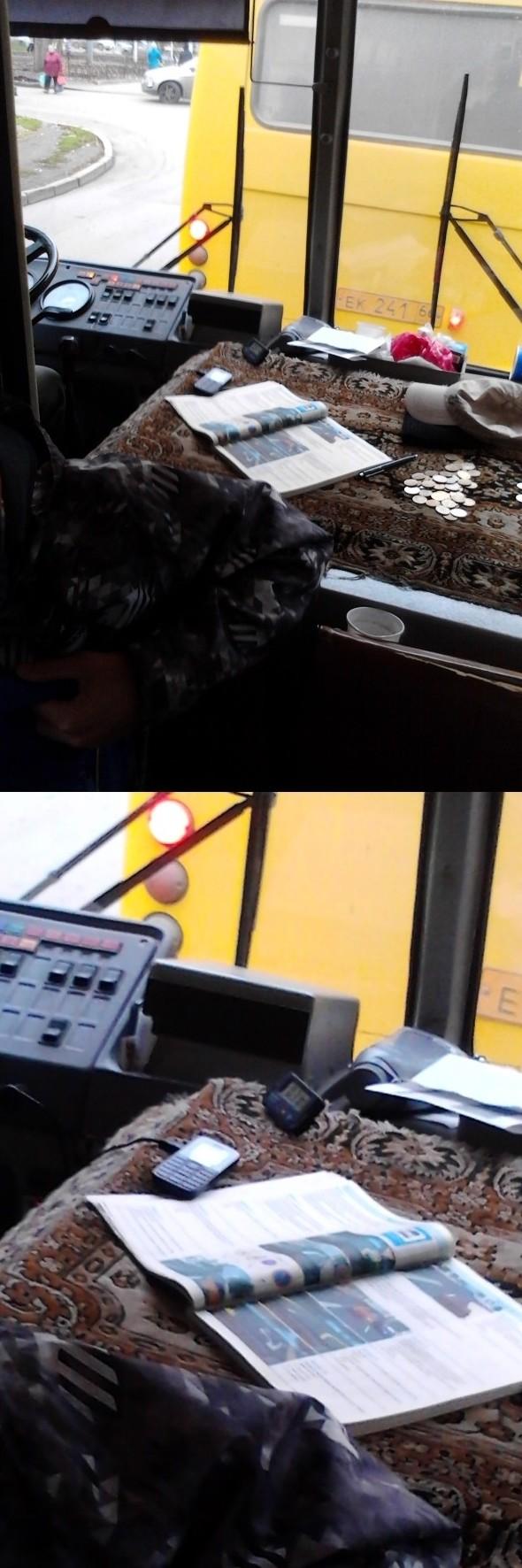 Ничего необычного, просто водитель автобуса готовится к экзамену в ГАИ  водитель, маршрутка, прикол, пробка, юмор