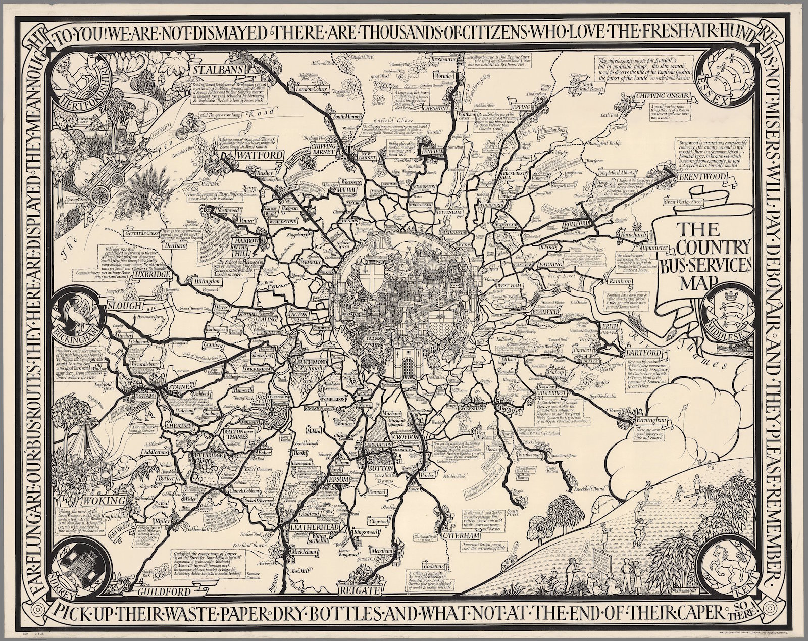 The Country Bus-Services Map, London and Vicinity, 1928. география, история, карты, наука