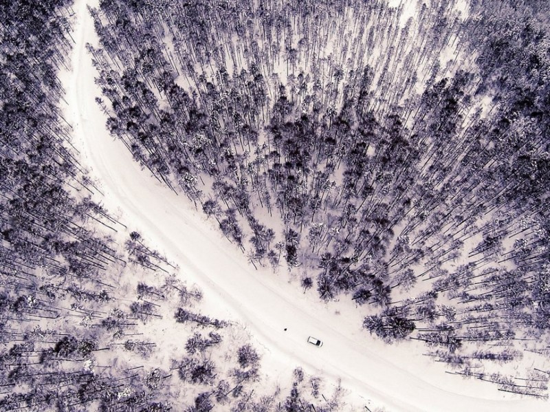 Зимняя дорога природа, фотографии