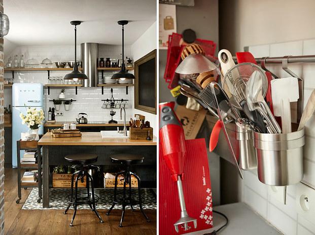 8. Установите рейлинги по всей кухне и используйте их в качестве дополнительных мест для хранения интерьер, квартира, советы, хитрости