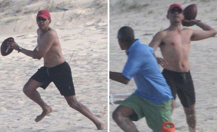 Барак Обама играет на пляже  vip персоны, папарацци, пляж, снимки знаменитостей