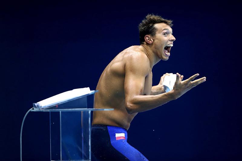 Претендент из Польши на звание «Лучшее лицо» в заплыве 200м вольным стилем. олимпиада, рио2016, спорт