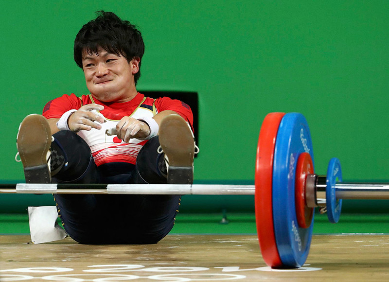 Лучшее лицо штангиста. Претендент из Японии. олимпиада, рио2016, спорт