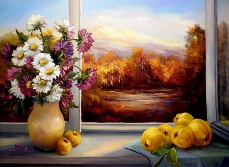 Красивые открытки с осенними цветами и пейзажами