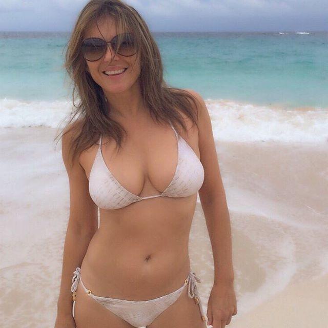 Плоский живот и задорная грудь 51-летней актрисы порадовали поклонников Элизабет Херли, бикини