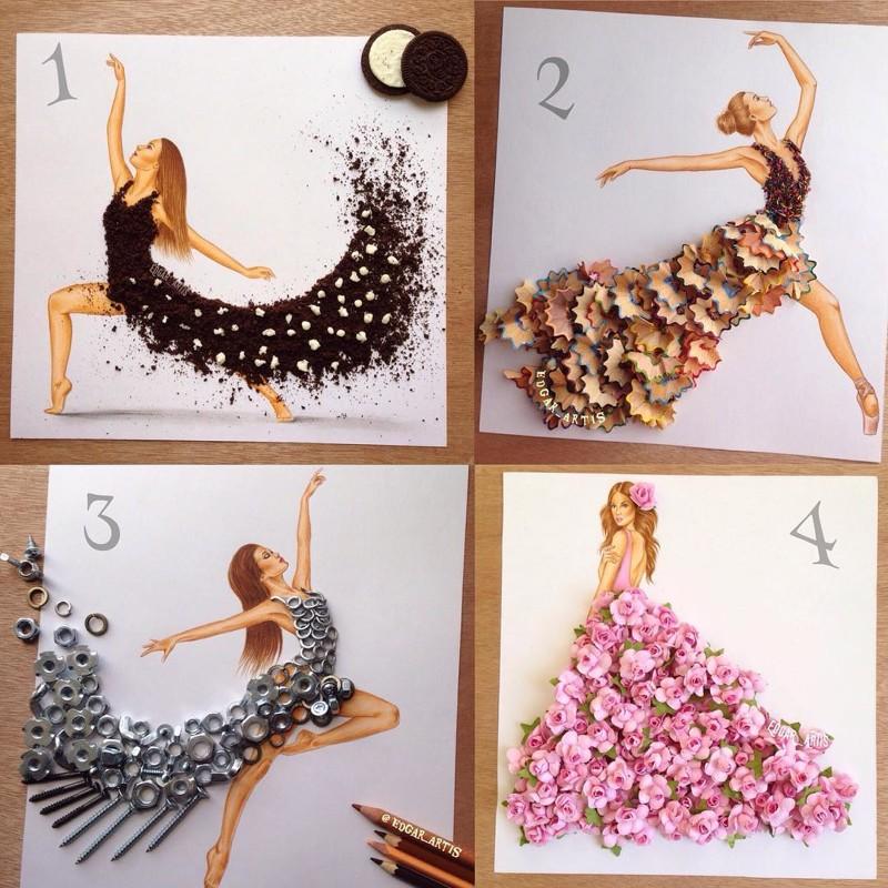 8a9b88c6308 Иллюстратор из Армении создает потрясающие эскизы одежды из подручных  средств Instagram