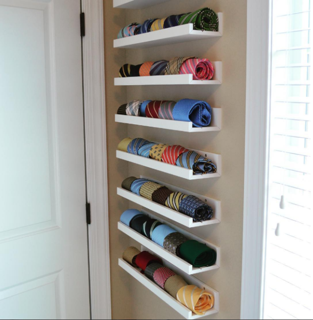12. Этот метод также отлично подходит для шарфов и галстуков гардероб, одежда, советы, хитрости