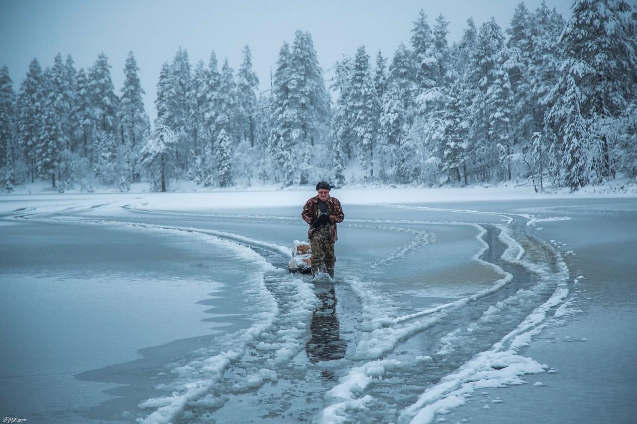 На севере зимняя рыбалка