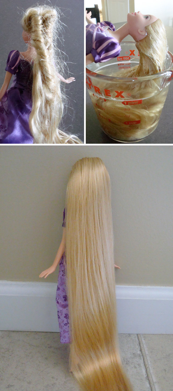 Безнадежно спутанные волосы куклы поможет привести в порядок смесь из жидкости для мытья посуды и кондиционера для ворос воспитание, дети, советы, хитрости