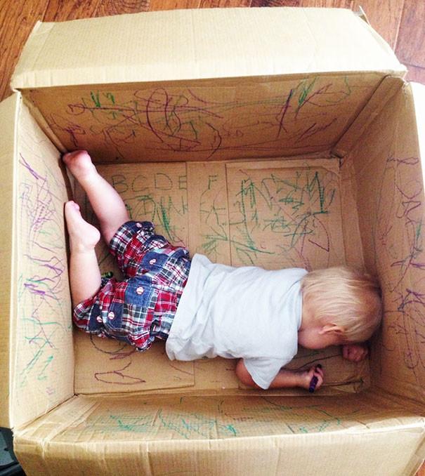 Большая пустая коробка - отличный тренажер для художественного творчества! воспитание, дети, советы, хитрости