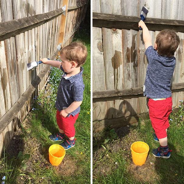 Займите малыша делом! Он с удовольствием будет красить забор водой воспитание, дети, советы, хитрости