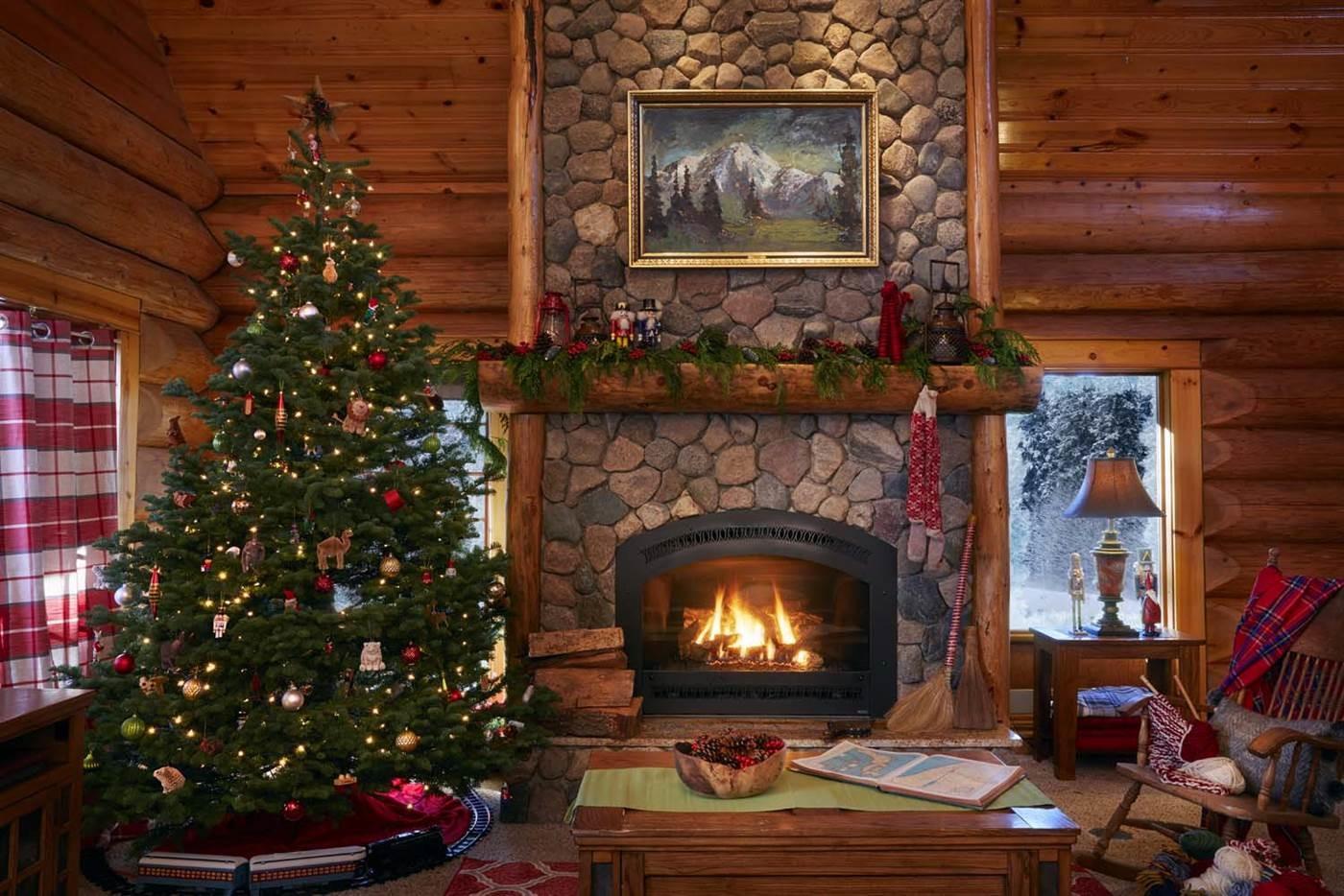 Картинка с камином новый год
