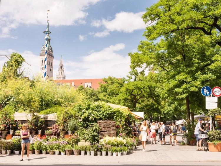 Перекусите на Продовольственном рынке Мюнхена германия, путешествие