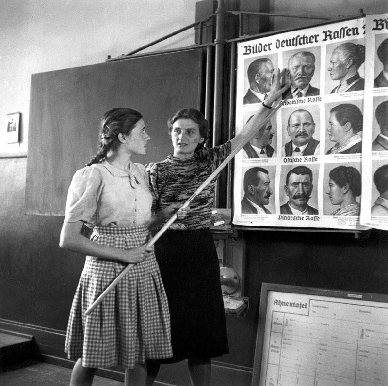 1940. Германия. Школьницы на занятии по расовой чистоте. интересно, история, фото