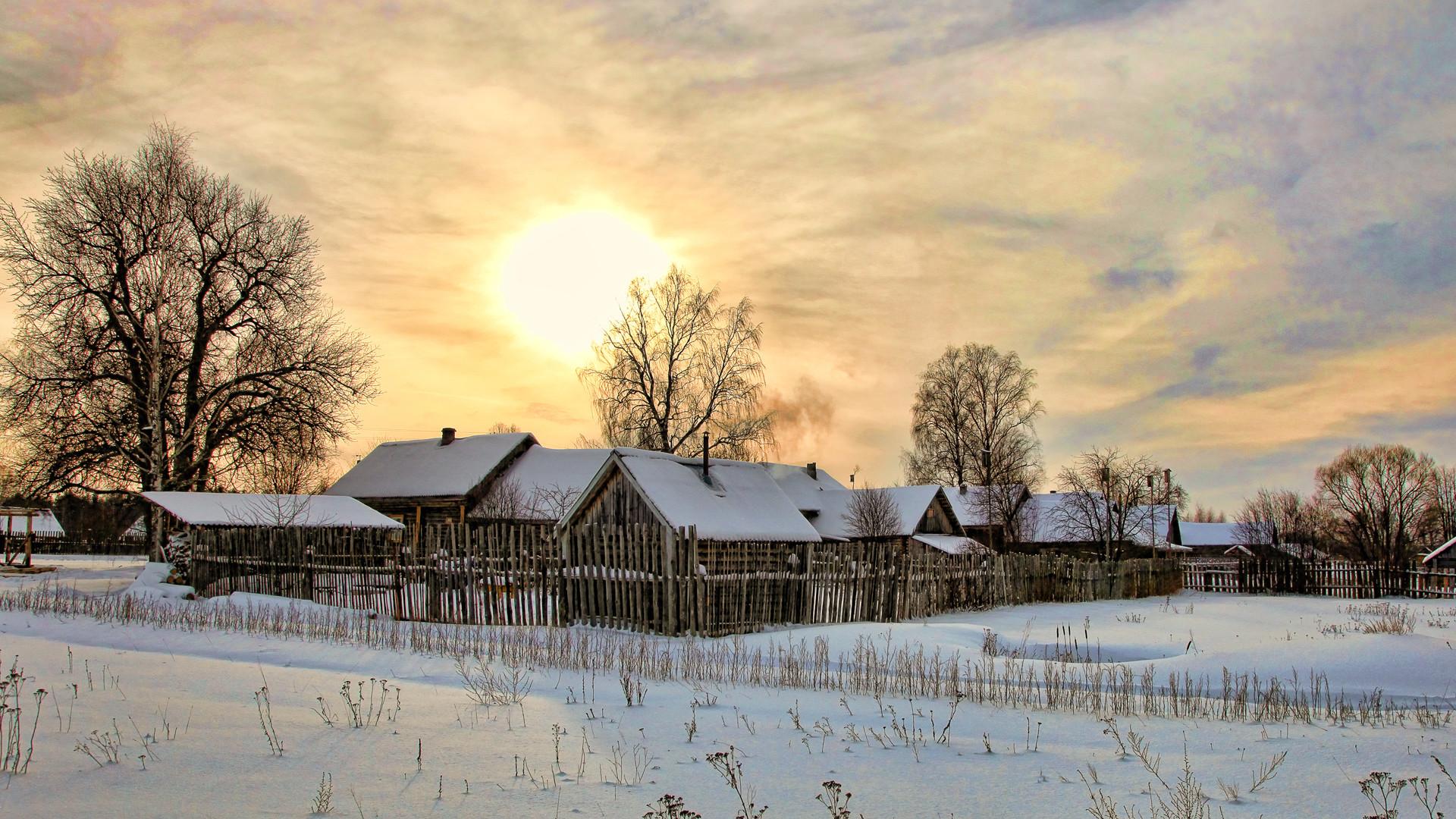 природа деревня дом снег зима забор мельница nature the village house snow winter fence mill без смс