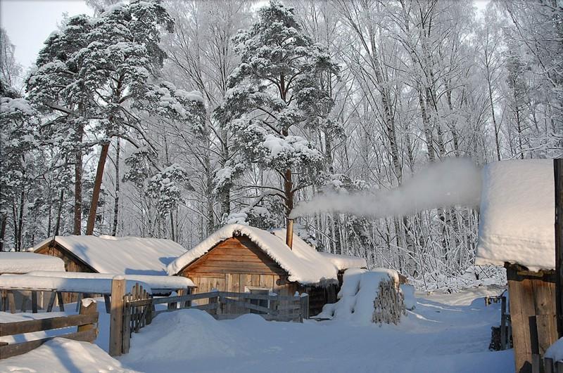 Картинки деревня зимой