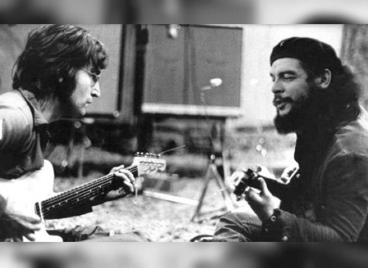 Джон Ленно и Че Гевара играют на гитарах. интересное, фейки, фотографии