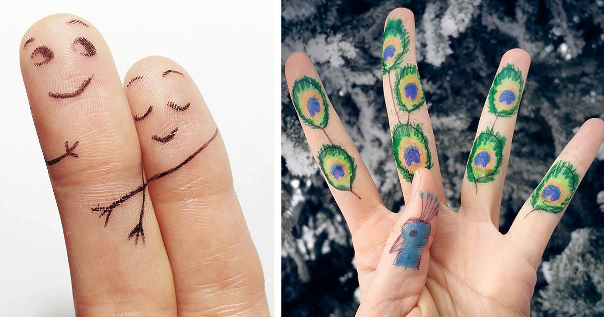 прикольные рисунки на пальцах фото применение синюхи голубой