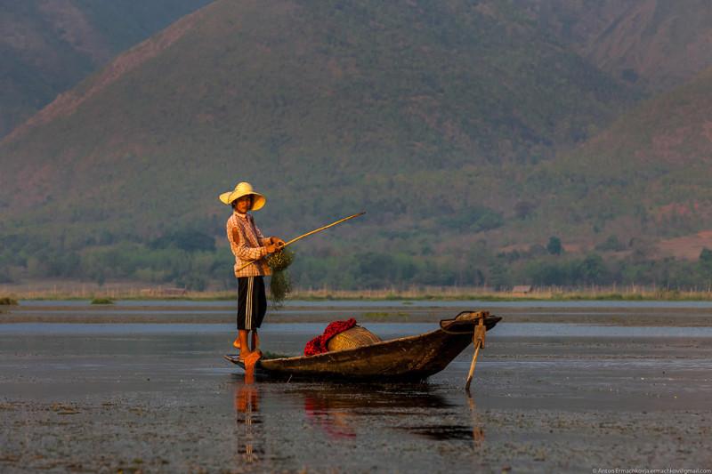 Рыбаки на озере Инле мьянма, озеро Инле, рыбаки
