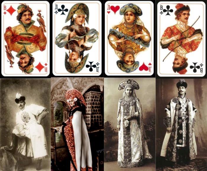 арты колоды *Русский стиль*, срисованные с участников костюмированного бала были, история, карты
