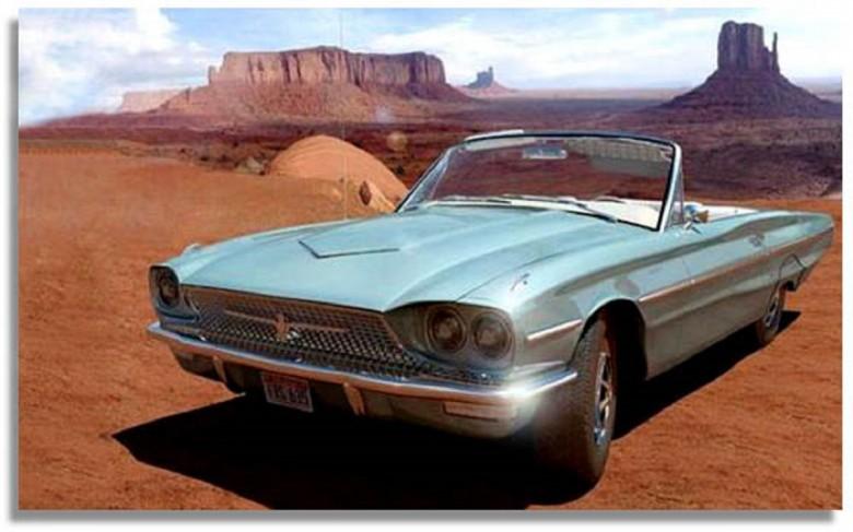 13. 1966 Ford Thunderbird - Тельма и Луиза (1991) авто, знаменитые автомобили, кино, кинотачки