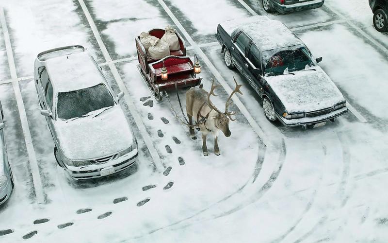 Обычная ситуация в Лапландии. Гений парковки, парковка, прикол, юмор