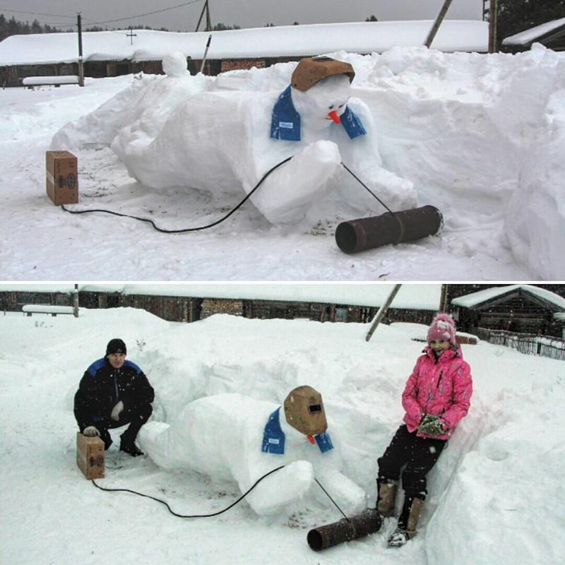 """Снеговик """"Зимний сварщик"""" Душевно, деревня, красота, счастье, уют"""