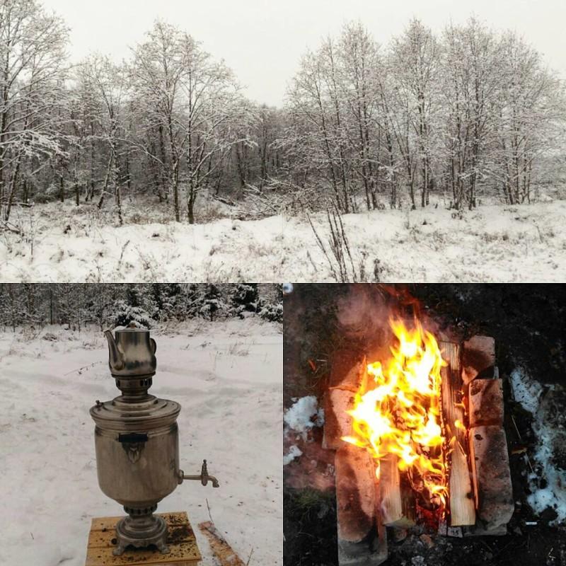 Чай из самовара после морозной прогулки по лесу! Душевно, деревня, красота, счастье, уют