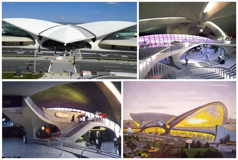 Один из терминалов международного аэропорта имени Джона Кеннеди в Нью-Йорке архитектура, аэропорты, красота, особенности