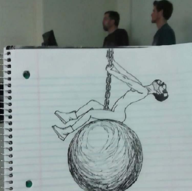 Девушка, смешные рисунки на уроках карандашом