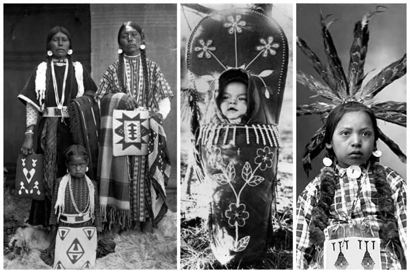 Индийские женщины и дети, а также ребенок в традиционной кожаной люльке - ребенка в такой держал с рождения, удобно для переноски и укачивания. индейцы, интересное, старые, фотографии