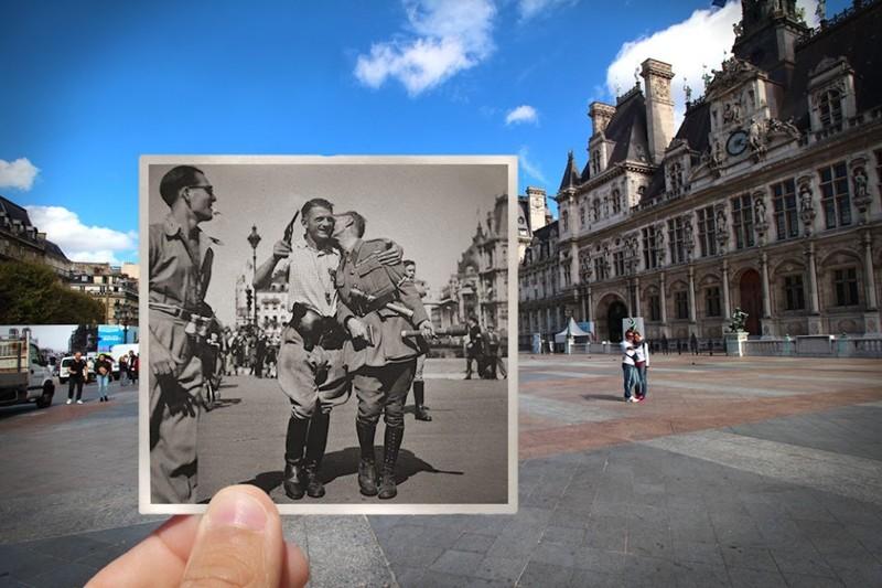 1944 г. Дружеские встречи во время освобождения Парижа париж, художник