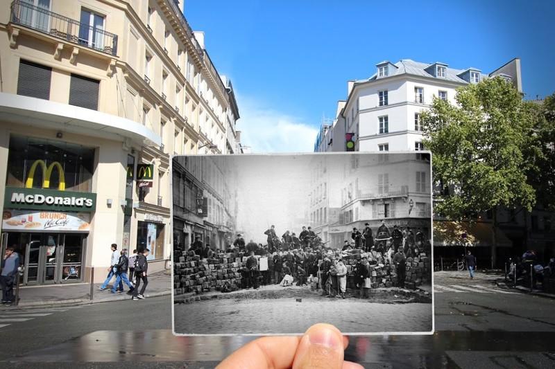 1871 г. Баррикады у входа в предместье Тампль на улице Faubourg-du-Temple париж, художник